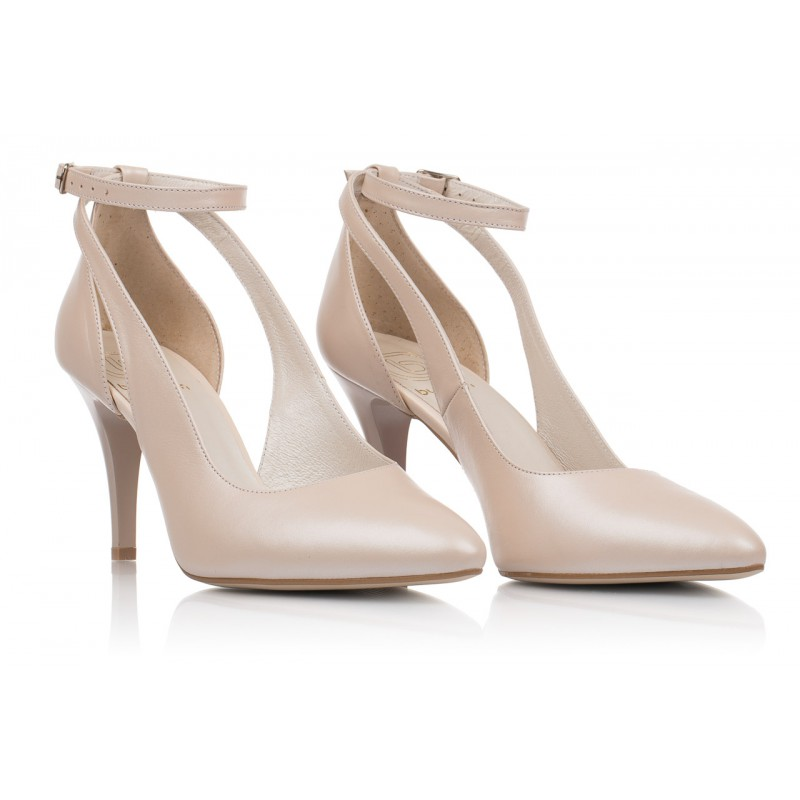 buty ślubne ze skóry naturalne kolor beżowy jasny